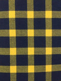 Men's Navy and Yellow Extra Fine Pima Cotton Windowpane Plaid Western Shirt - Rockmount