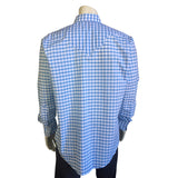 Men's White and Blue Extra Fine Pima Cotton Windowpane Plaid Western Shirt - Rockmount