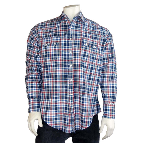 Men's Red & Blue Herringbone Weave Western Shirt