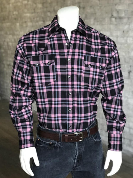 Men's Retro Shadow Plaid Dobby Lurex Western Shirt in Black