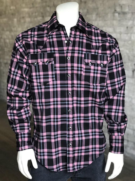 Men's Black & Pink Rayon Plaid Western Shirt - Rockmount