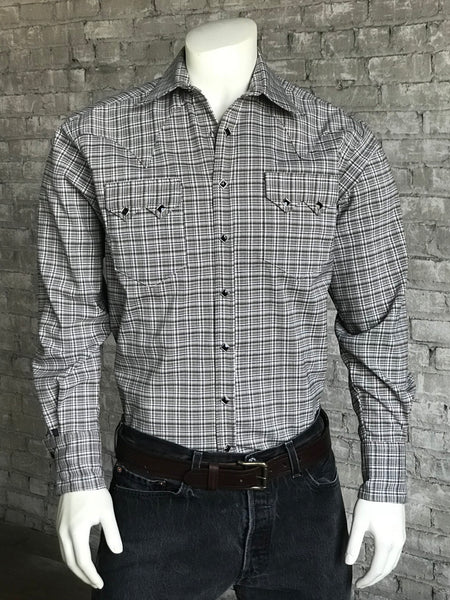 Men's Brown & Grey Rayon Plaid Western Shirt