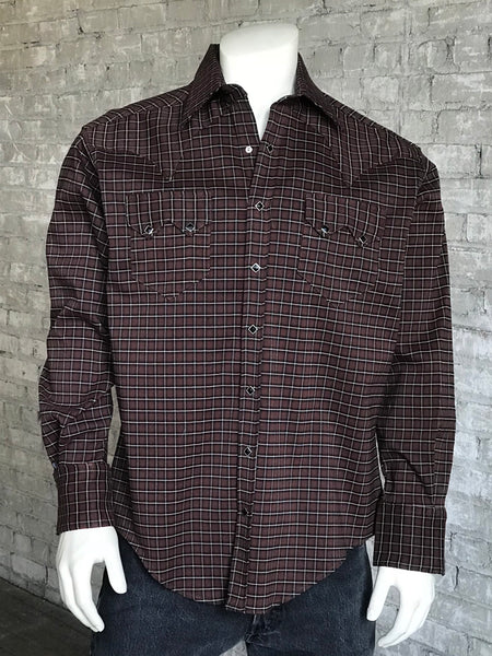 Women's Short Sleeve Navy Gingham Check Western Shirt