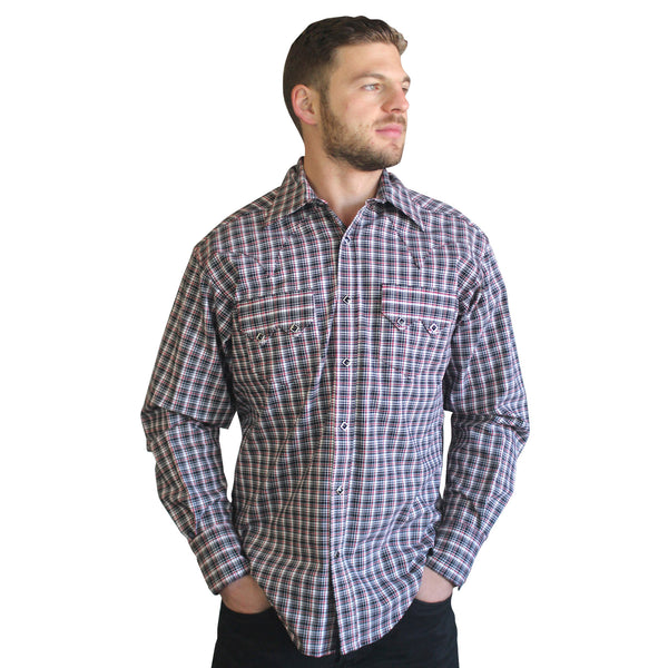 Men's Black & Red Rayon Plaid Western Shirt