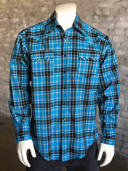 Men's Double Line Windowpane Plaid Blue Western Shirt