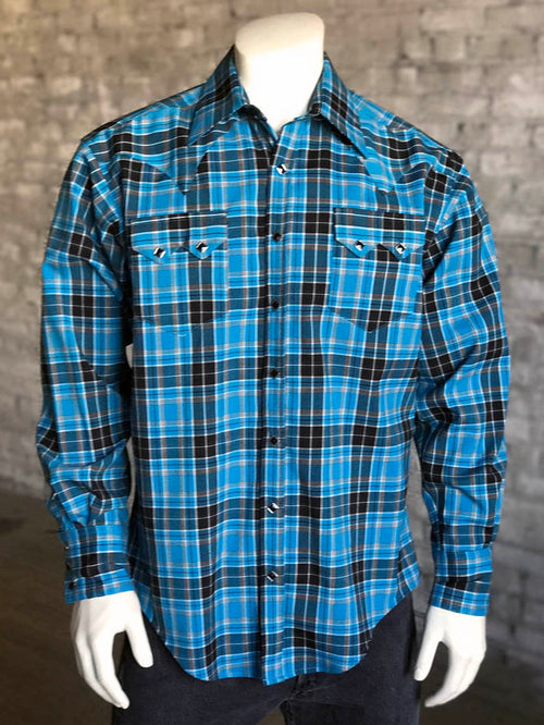 Men's Turquoise & Black Plaid Western Shirt - Rockmount
