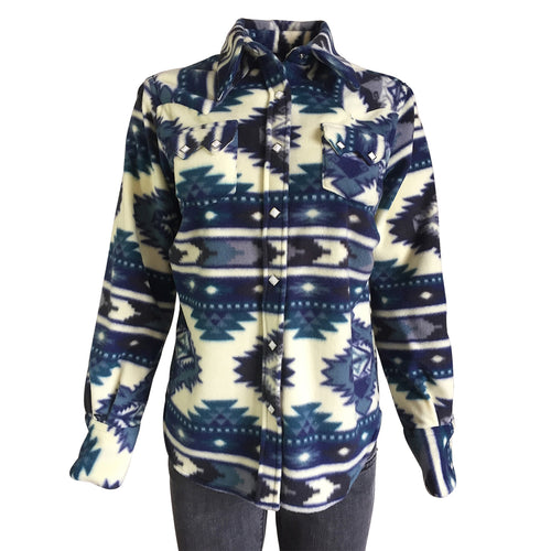 Women's Native Pattern Fleece Western Shirt in White & Blue