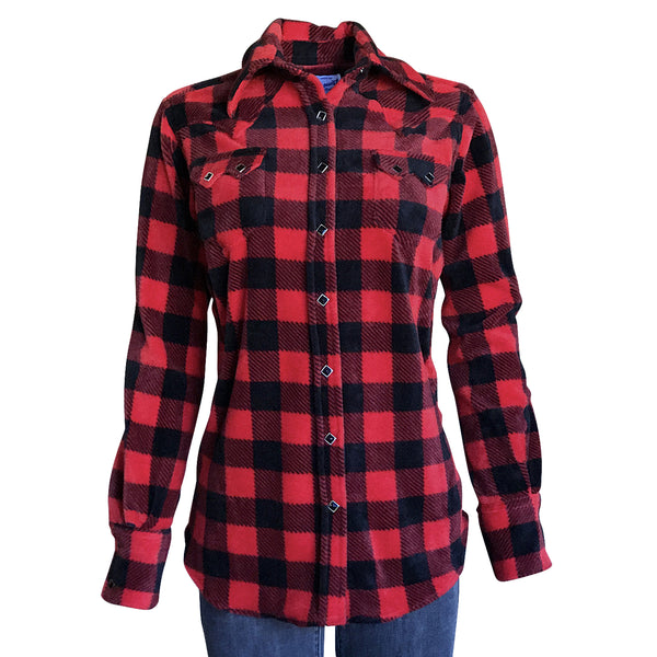Women's Red & Black Buffalo Check Fleece Western Shirt