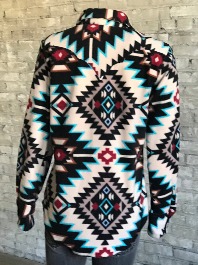 Women's Native Pattern Fleece Western Shirt in Off-White