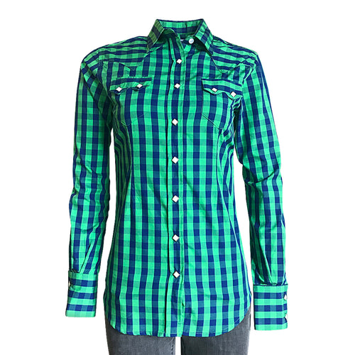 Women's Green & Blue Buffalo Check Western Shirt