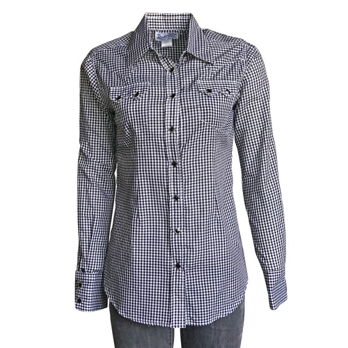 Women's Black Gingham Check Western Shirt