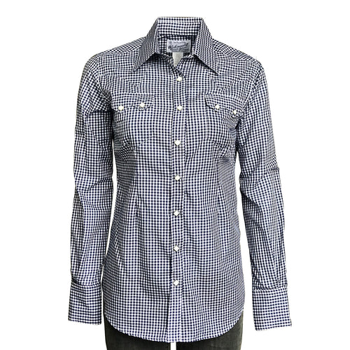 Women's Navy Gingham Check Print Western Shirt