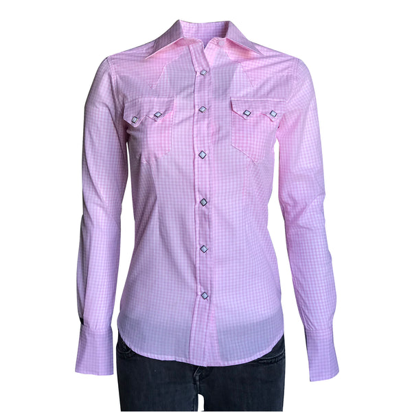 Women's Pink Gingham Check Print Western Shirt
