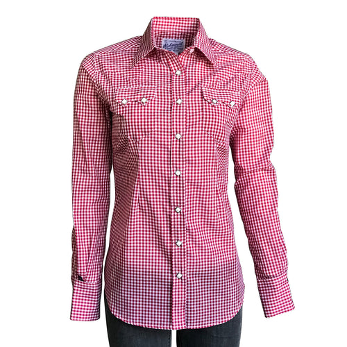 Women's Red Gingham Check Print Western Shirt