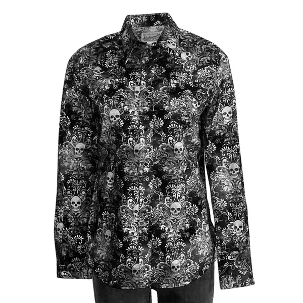 Women's Charcoal Skulls Print Western Shirt in Black & Grey