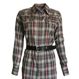 Women's Shadow Plaid Dobby Lurex Western Shirt in Black
