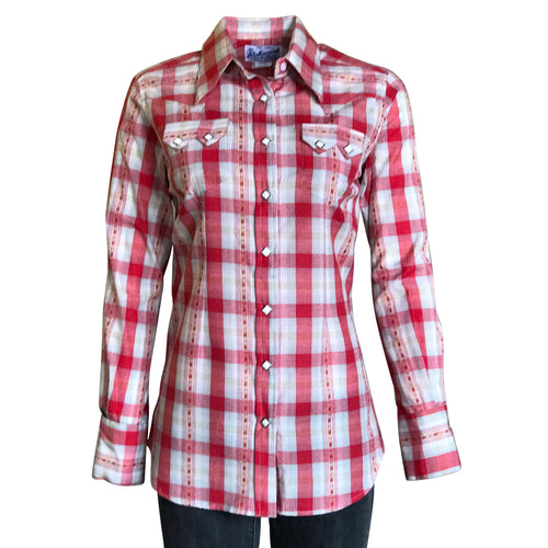 Women's Shadow Plaid Dobby Lurex Western Shirt in Red