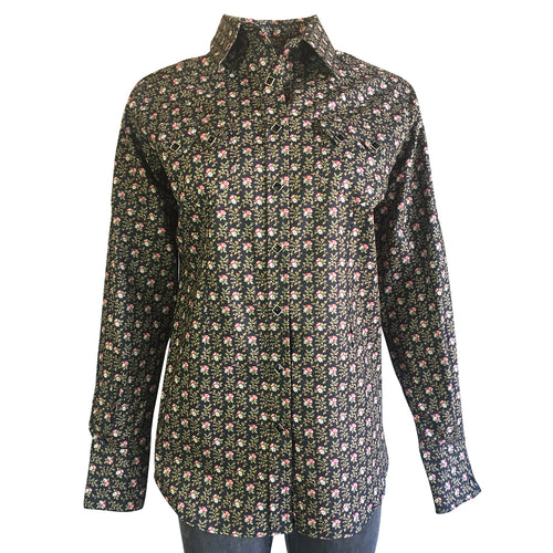 Women's Vintage Black Floral Print Western Dress Shirt