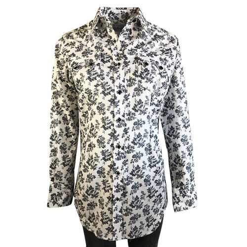 Women's Vintage Grey Floral Print Western Dress Shirt