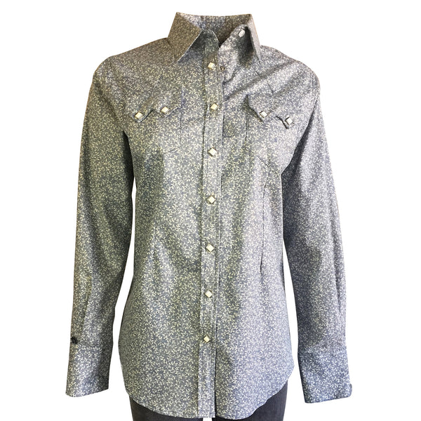 Women's Blue Floral Reverse Print Western Dress Shirt