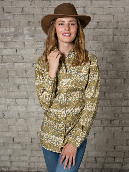 Women's Yellow Bison Bandana Print Western Dress Shirt