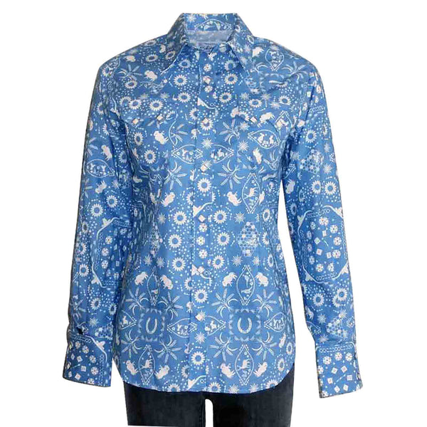 Women's Bison Bandana Print Blue Western Dress Shirt