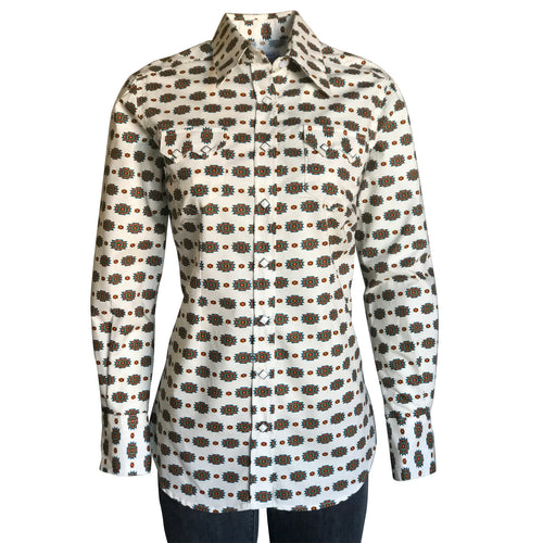 Women's Native Print Western Shirt in Ivory