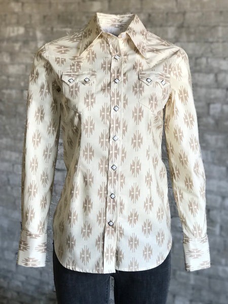 Women's Blue Bison Bandana Print Western Dress Shirt