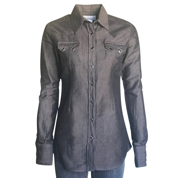 Women's Extra-Fine Cotton Black Chambray Western Shirt