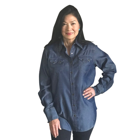 Women's Stonewashed Sawtooth Denim Western Shirt