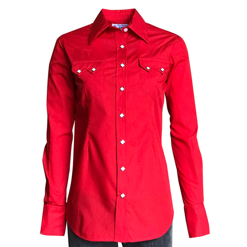 Women's Solid Red Cotton Blend Western Shirt