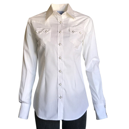 Women's Solid White 100% Cotton Western Shirt
