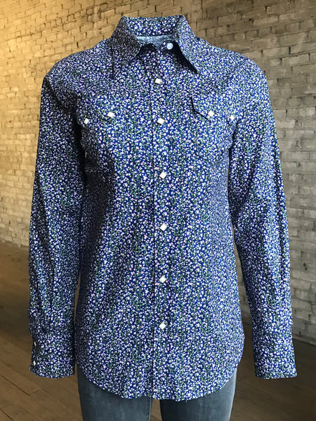 Women's Short Sleeve Blue Chambray Floral Print Shirt