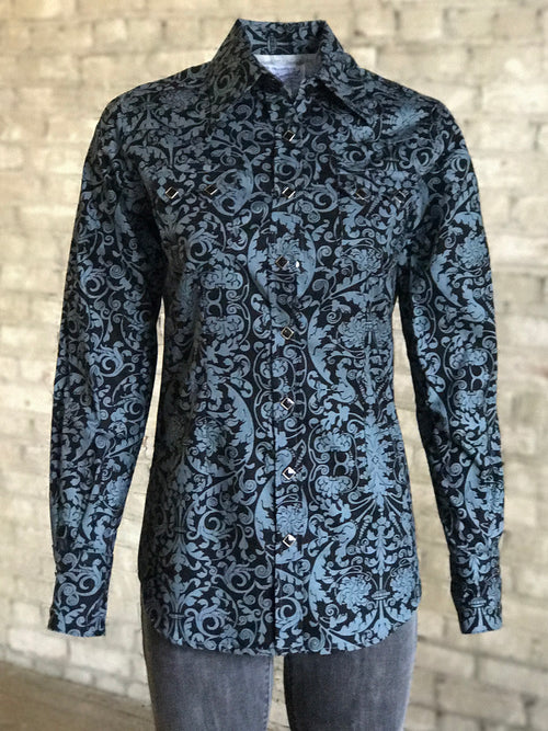 Gray Lace Filigree Print Western Shirt - Rockmount