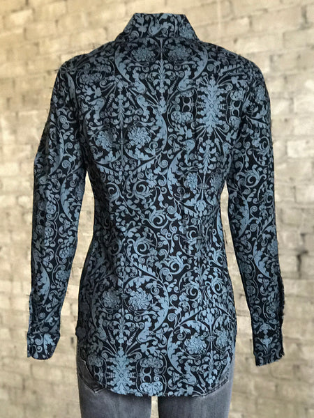 Women's Gray Lace Filigree Print Western Shirt