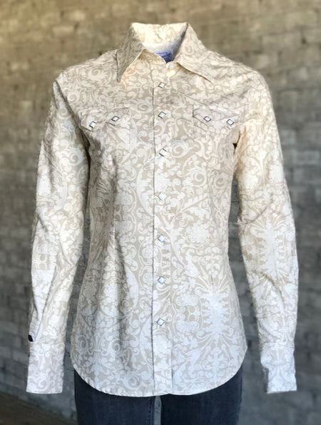 Men's Floral with Horseshoes Embroidered Western Shirt in Ivory