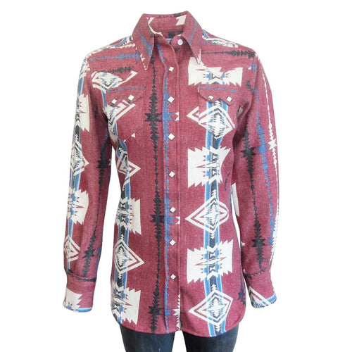 Women's Premium Flannel Jacquard Western Shirt in Red & White