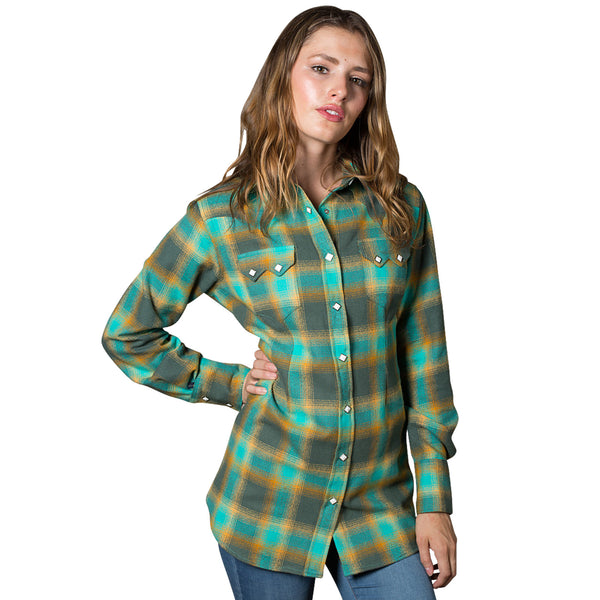 Women's Plush Green & Turquoise Plaid Flannel Western Shirt