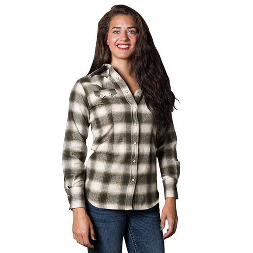 Women's Plush Green & White Shadow Plaid Flannel Western Shirt