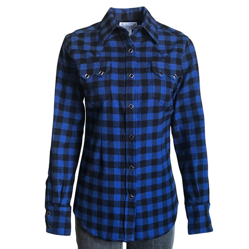 Women's Plush Blue & Black Buffalo Check Flannel Western Shirt