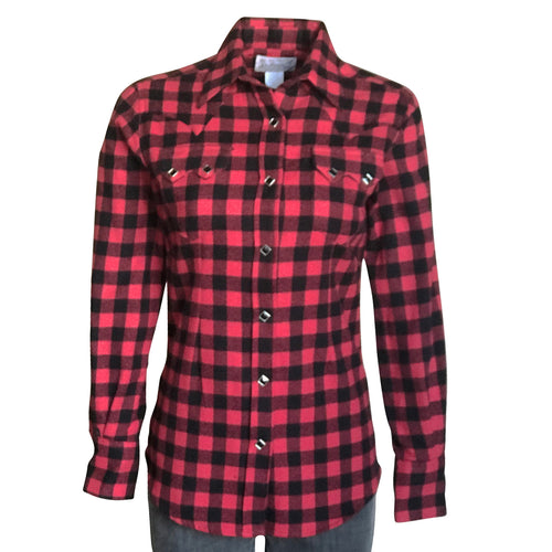 Women's Plush Red & Black Buffalo Check Flannel Western Shirt