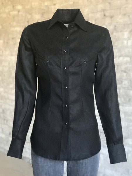 Women's Solid Black Cotton Blend Western Shirt