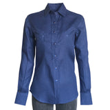 Women's Classic Blue Linen Western Dress Shirt