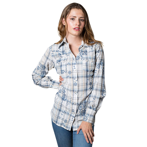 Women's Blue Plaid Eyelet Embroidery Western Shirt