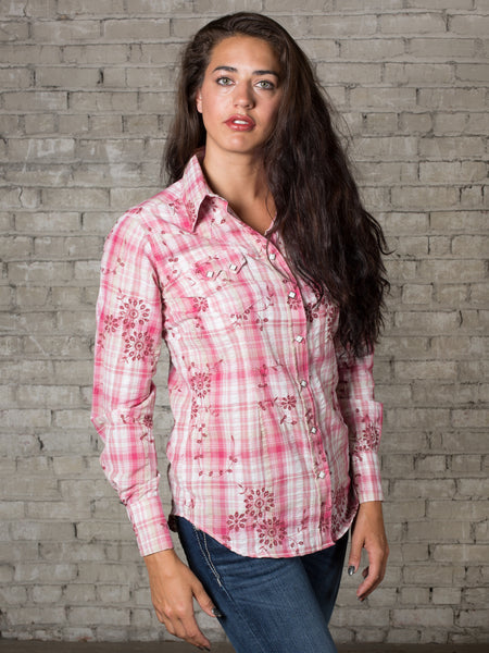 Women's Blue Plaid with Eyelet Embroidery Western Shirt