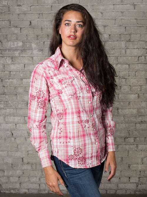 Women's Pink Plaid with Eyelet Embroidery Western Shirt