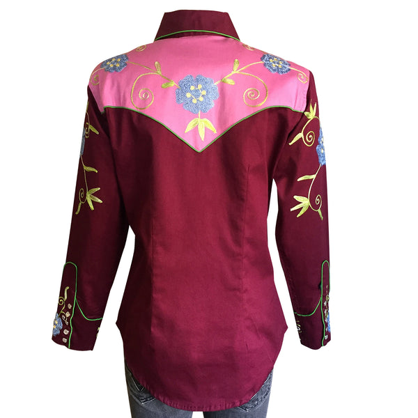 Women's 2-Tone Burgundy & Pink Embroidered Western Shirt