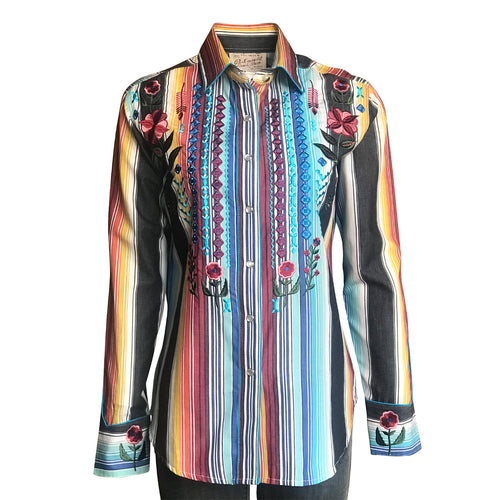 Women's Boho Serape Stripe Western Shirt with Cascading Embroidery