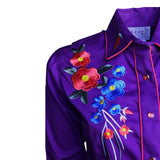 Women's Purple Vintage Floral Bouquet Embroidered Western Shirt