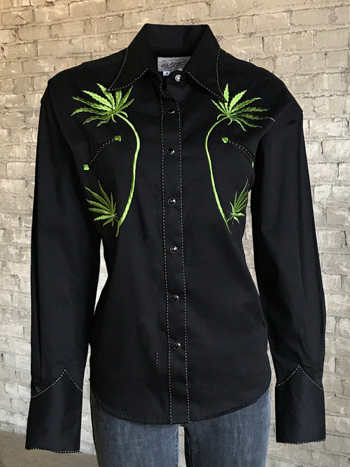 Women's Black Cannabis Cowgirl Embroidered Western Shirt